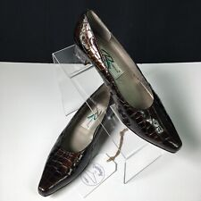 Ros Hommerson Women's Brown Reptile Print Leather Slip On Pump Shoes Sz 7.5M