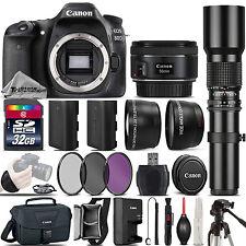 Canon EOS 80D DSLR WiFi NFC Camera + 50mm 1.8 STM + 500mm Telephoto - 32GB Kit