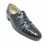 Men's Bruno Magli Loafers Shoes Size 10.5 N Black Genuine Caiman Crocodile H8