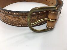 Tony Lama  Hand Tooled Top Grain Leather Western Belt Size 32 Brass Buckle