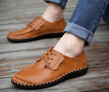 Mens Casual Lace Up Flats PU Leather Driving Loafers Moccasins Sneaker Shoes