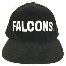 Vtg Atlanta Falcons Hat Corduroy Script Cap Spell Out Logo Snapback NFL Football