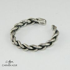 Oxidised Finish New with Gift Bag Solid 925 Sterling Silver Toe Ring Braided