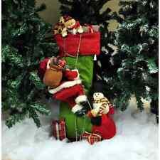 Decoración de Navidad Medias de Pie Figura De Peluche Base De Madera Navidad Lindo Hermoso