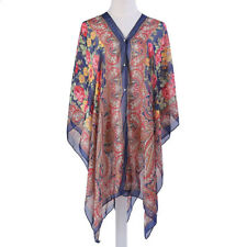 WOMEN'S RED & NAVY CHIFFON BEACH COVER UP TOP, ONE SIZE, PAISLEY/FLORAL PATTERN