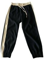 DRIES VAN NOTEN BLACK JOGGER PANTS WITH SIDE STRIPE, 38, $595