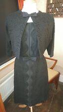 Fab Original Vintage 50s/60s Wiggle Mad Men Black Lace Dress & Bolero Suit 10