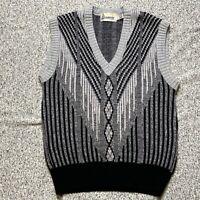 Vintage London Fog Sweater Vest Adult Size L Large Gray Black Wool Blend Mens