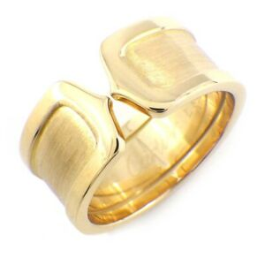 Auth Cartier Ring C2 2C LM Wide 750(18K) Yellow Gold #59 US8.5