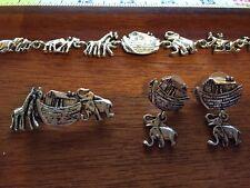 Noah's Ark Necklace, Earrings, Pin Jewelry Set