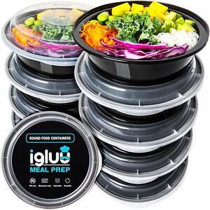 Igluu Round Meal Prep Food Containers [10 Pc] BPA Free Reusable Salad Bowl Set