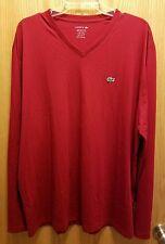 Lacoste Mens Long Sleeve Pima Cotton Jersey Shirt V-Neck Size 8/3XL Red NWOT