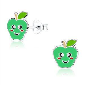 925 Sterling Silver Green Smiley Apple Enamel Stud Earrings Kids Girls Cute