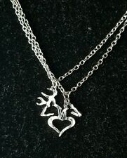 Her Buck His Doe Heart Necklace 2 PC Set Browning Interlocking Deer Couples