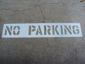 """12"""" NO PARKING Parking Lot Stencil 1/16"""", LDPE 3"""" Edges 2"""" Spaces, Easy To Read"""