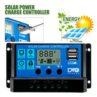 12V/24V USB Solar Panel Battery Regulator Charge Controller 20A LCD Display