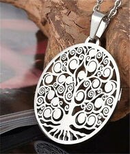 1PC Stainless Steel Silver Hollow Out Peaceful Tree Of Life Pendant Necklace