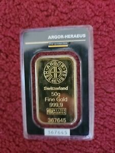 50 gram Gold Bar - Argor Heraeus - 999.9 Fine in Assay