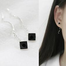 Damen Ohrringe Durchzieher Quadrat Welle schwarz echt Silber 925 Zirkonia