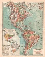 Antique map. North America. Central America. South America. c 1905