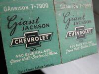 Vintage GIANT Jackson CHEVROLET Boston, Mass MATCHBOOKS - Lot of 2
