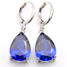 Europe Popular Jewelry 3PCS Platinum Plated Luxury Sapphire Gems Dangle Earrings