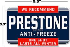 "(PRES-STA-1) 9.5"" PRESTONE ANTI-FREEZE CAN DECAL STATION GASOLINE GAS PUMP"