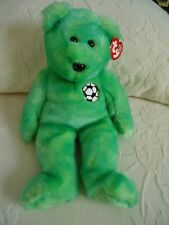 "TY Beanie Buddies ""KICKS"" Soft Plush Green Soccer Bear. 1999. 13""  NEW"