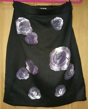 Holly Fulton Wool Floral Sequin Skirt Small Vintage Retro 80s Style