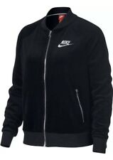 Nike Sportswear Velour Jacket Womens 921149-010 Black White Zip Jacket Size LG