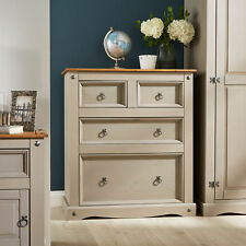 Grey Corona Pine Chest of 4 Drawers Two Tone Solid Mexican Wood 2 2 Seconds