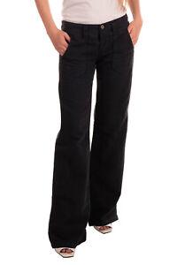 RRP €105 DIESEL Trousers Size 28 Linen Blend Garment Dye Button Fly Wide Leg