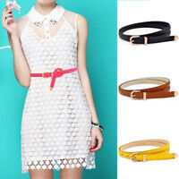 Women Lady Girls PU Leather Skinny Thin Narrow Buckle Waist Belt Waistband Strap