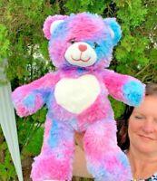 "Build A Bear Cotton Candy Color Teddy 16"" Plush Stuffed Animal Toy"