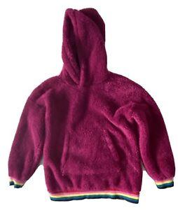 Hanna Andersson Fuzzy Sherpa Sweatshirt Size 8 130 Rainbow Cuff Kangaroo Pockets