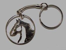 Hand Cut Kennedy 50 cent coin as a Horse, mounted as a Key Chain