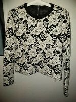 Endless Rose Small Black & White Floral Long Sleeve Top