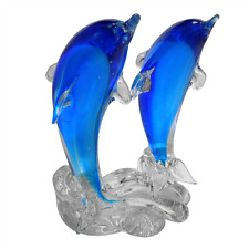New Handmade Colour Glass Twin Dolphins Light Blue 12 x 9 x 18 cm