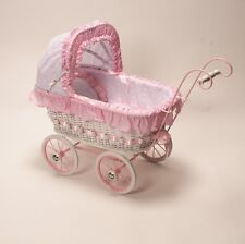 Alexandra Classic Cane Wicker Girls Toddler Dolls Pram Linen Play Strong