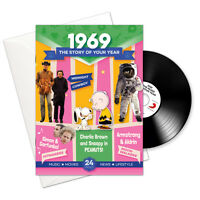 50th BIRTHDAY or ANNIVERSARY GIFT - 1969 4-In-1 Card , Book , CD and Download
