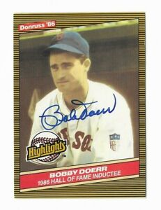 1986 Donruss Highlights #32 Bobby Doerr (d. 2017) Boston Red Sox HOF SIGNED COA