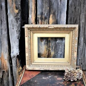 Antique Glass Gesso Gilt Wooden Deep Picture Frame Interior Wall Hanging Art
