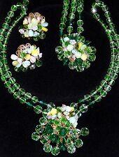 Vintage Alice Caviness Green Glass Fruit Salad Necklace Bracelet Earrings SET