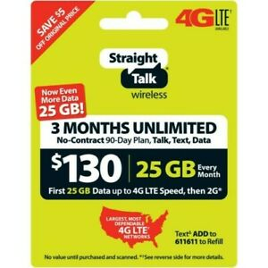 Straight Talk 130$ Unlimited/90 Days/No Contract Plan