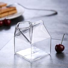 Creative Clear Transparent Glass Milk Box Shape Jug Dish Milk Cup Hot