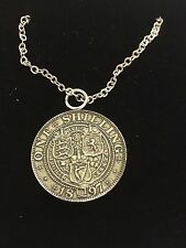 """Victoria Shilling WC42 English Pewter On a 24"""" Silver Plated Chain Necklace"""