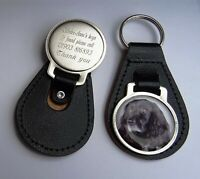 Genuine Leather Personalised Engraved Key Ring with CAVALIER SPANIEL PICTURE