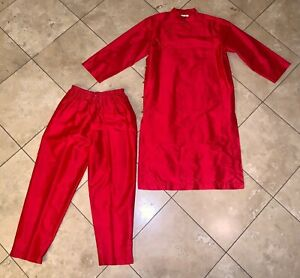 BORCELLINI creation Retro Pink crochet Flare Pants Jacket women/'s SET Sz 6