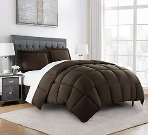 Chezmoi Collection 3-Piece Down Alternative Comforter Set (Queen, Chocolate)