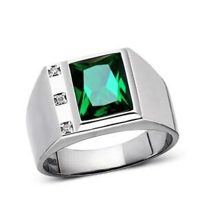 Emerald Ring for Man 3 Natural Diamonds Solid Sterling Silver May Birthstone